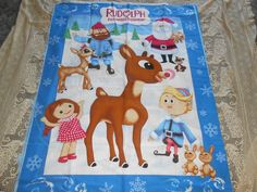 Rudolph Red Nose Reindeer Fabric Panel Craft VIP Cranston 35 x 45 Clarice Yukon  #cranston