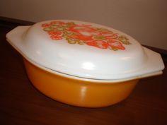 Vintage Orange Pyrex Fruit Casserole Dish.