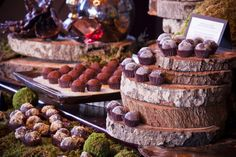 Love the chocolate dessert bar displayed on logs.
