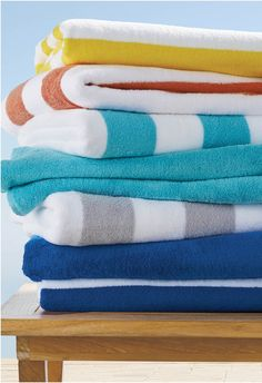 The quintessential pool or beachside towel. Solid colors are reactive dyed and bold stripes are printed on this long staple Turkish cotton-aerocotton towel for a look that keeps it bold and bright all summer long.