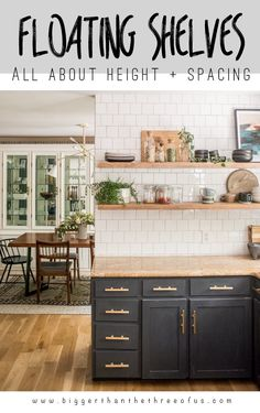 DIY open shelving kitchen guide includes all about heavy duty floating shelf hardware, how to mount floating shelves, how to hang floating shelves on drywall and what I think about my wood kitchen shelves years later! Farmhouse Style Kitchen, Modern Farmhouse Kitchens, Home Kitchens, Rustic Kitchen, Kitchen Tv, Soapstone Kitchen, Tiny Kitchens, Kitchen Cabinets, Kitchen Small