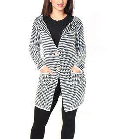 Look what I found on #zulily! White & Black Contrast-Knit Cardigan - Plus #zulilyfinds