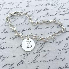 Silver Initial Charm Bracelet | Initial Bracelet | Personalized Bracelet | Hip Mom Jewelry