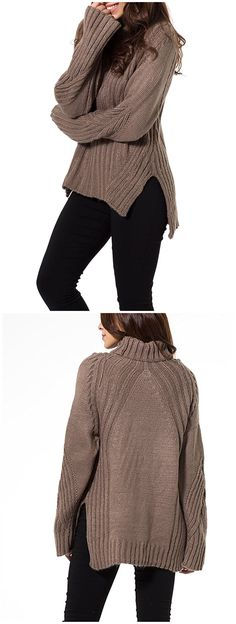 Joeoy Women's Brown Turtleneck Dipped Hem Chunky Knit Sweater Jumper