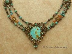 Gorgeous! Turquoise, Amber, Citrine beaded necklace...could use the Amethysts, Aquamarines &/or Peridot beads for my own colour combinations.