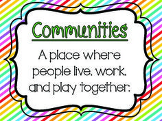 G2 - Unit 1 - What is a Community Chart, Vocab, and Activity Pack