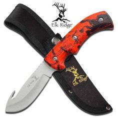 Elk Ridge Red Camo GutHook Hunter Fixed Blade Hunting Knife Skinning 274RC