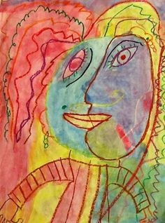 Cubism with oil pastels and washes made from tempera paint and water. I do this with 3rd or 4th graders