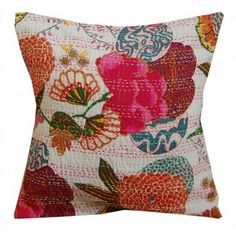 White/Multi Kantha Stitch Cushion Cover     These striking Kantha cushion covers are printed in a vibrant tropical fruit and floral design. These exotic cushion covers will bring a splash of colour and ethnic appeal to your home.     Size: 40cm x 40cm     100% cotton.