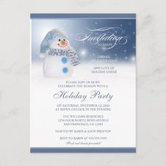 Snowman Holiday Party Invitations Postcard #snowman #holiday #party #invitations #snowman