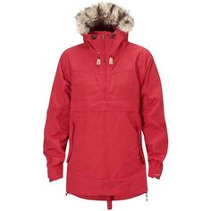 Fjallraven Women's Iceland Anorak ($300) ❤ liked on Polyvore featuring outerwear, jackets, red, red faux fur jacket, red jacket, hooded drawstring jacket, zipper pocket jacket and faux fur hooded jackets