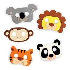 Jungle masks    Turn any event into a wild time.    Made from comfortable, soft foam - Reusable - Each mask has an elastic band on the back.  Adjustable strap is perfect for adults - great for parties.  Set of 5 includes lion, panda, monkey, tiger, koala.