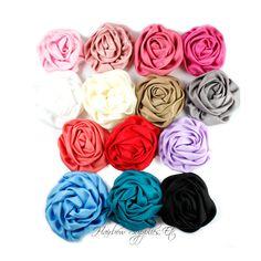 Satin Blumen Elegant Rosette 3 Zoll  Satin von HairbowSuppliesEtc