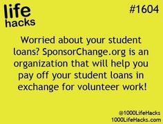 1000 Life Hacks: How about help paying off college loans in exchange for volunt. - 1000 Life Hacks: How about help paying off college loans in exchange for volunteer work - College Hacks, College Life, College Loans, College Ready, School Loans, College Scholarships, School Scholarship, College Classes, Dorm Life