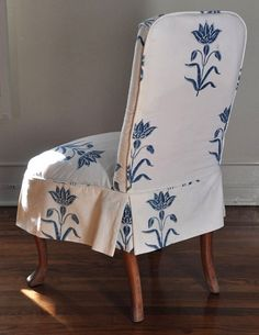 Charming chair slipcover in Les Indiennes Tulipe fabric