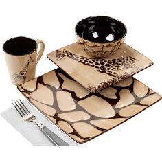 Giraffe 16-Piece Square Dinnerware Set