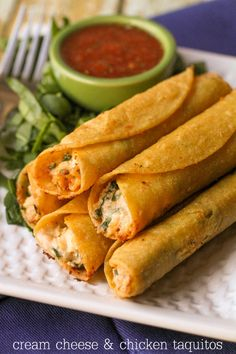 These are SOOO good! Cream Cheese and Chicken Taquitos. lilluna.com