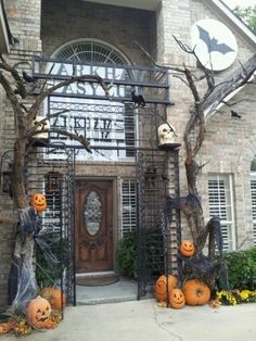 cemetery gate for the front door at halloween