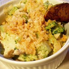 """Chicken broccoli casserole - chicken breast, broccoli, Neufchâtel cheese, heavy cream, Old Bay seasoning, topped with crushed pork skins for breadcrumbs, slice of caramelized cinnamon pear on the side #lowcarb #diabetic friendly"" Photo taken by @thefirehousegourmet on Instagram, pinned via the InstaPin iOS App! http://www.instapinapp.com (10/16/2015)"