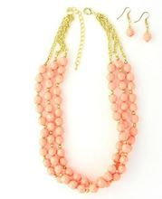 Ballet Pink Statement Necklace and Earrings Set   Bead and Gold