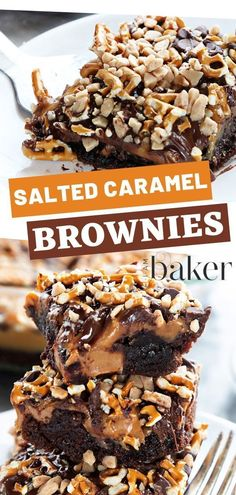 An easy dessert recipe, these salted caramel brownies will bring you to a whole .An easy dessert recipe, these salted caramel brownies will bring you to a whole new level! Moist and fudgy salted caramel brownies bring the perfect taste to every sw Best Dessert Recipes, Easy Desserts, Sweet Recipes, Rice Desserts, Health Desserts, Dessert Simple, Easy Dessert Bars, Brownie Recipes, Cookie Recipes