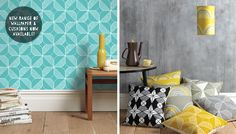 New range of cushions and wallpaper, with new designs Rosette and Riad – cushions hand screen-printed in Wales, and wallpaper digitally printed in England.