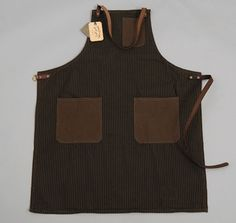 BBQ ANYONE??? SPRING TIME    HICKORY STRIPE APRON W/ LEATHER STRAPS, ASH :: HICKOREE'S