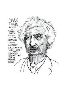 A poster poster print of the American author Mark Twain born Samuel Langhorne Clemens, taken from an original pen & ink and wash portrait drawing. Gesture Drawing, Guy Drawing, Drawing Sketches, Drawings, Book Drawing, Adventures Of Tom Sawyer, Adventures Of Huckleberry Finn, Literary Heroes, Mark Twain