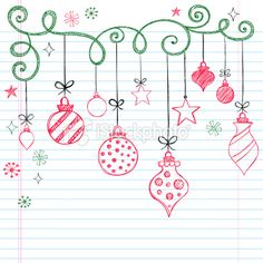 Sketchy Doodles Christmas Ornaments Royalty Free Stock Vector Art Illustration