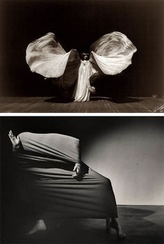 Loie Fuller (1862-1928) - pioneer of modern dance and theatrical lighting (patents) - improvisational technique with silk costumes and colored illumination - well received in Paris  where she embodied Art Nouveau (ashes at Pere Lachaise)