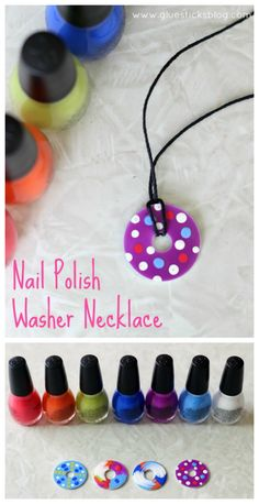 These nail polish washer necklaces are such a unique craft to make! - These nail polish washer necklaces are such a unique craft to make! Simply paint a metal washer wit - Fun Crafts For Girls, Crafts To Do, Crafts For Camp, Crafts For Gifts, Crafts To Make And Sell Unique, Teen Girl Crafts, Summer Camp Crafts, Arts And Crafts For Teens, Simple Crafts