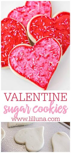 Soft and sweet valentine sugar cookies are the perfect way to say I love you! They are super simple and make a great treat for gifting. #valentinesugarcookies #valentinescookies #valentinesday #sugarcookies #cookies Valentine Sugar Cookie Recipe, Valentine Treats, Sugar Cookies Recipe, Cookie Recipes, Valentines Sweets, Valentine Recipes, Easter Recipes, Holiday Treats, Holiday Fun
