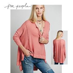 Free People Benedict Canyon Henley Super soft oversized thermal henley with contrast, dolman sleeves. Exaggerated high low hem with side vents. VERY Oversized and has raw stitching for a slightly coming undone, worn look. Color is Wood Rose and closer to stock photo but kind of in between Free People Tops