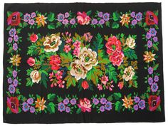 Amazing handmade tapestry, rug, bedspread, coverlet, bed throw with superb flowers. Coverlet Bedding, Bedspread, Floral Rug, Rugs On Carpet, Carpets, Bed Throws, Textiles, Handmade Decorations, Handmade Rugs