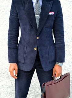 Navy Blue Thick Corduroy Suit...why not