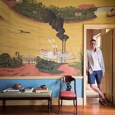 A recent @onekingslane shoot in our French Quarter apartment. Thanks to the talented @aspoonfulofbenjamin and @pthepaul for their creative work and a fun shoot in our beloved bayou. Link in profile. @degournay #nola #frenchquarter #traditionaldesign #mural #decoratingwithcolor #storybooksinpinspiration