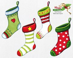 Christmas Stockings Clip Art Collection Xmas Hand Painted Watercolor Clip Art / Set of 4 INSTANT DOWNLOAD Digital watercolor clipart for personal or small commercial use Perfect decorative elements for Christmas invitations, greeting cards, photos, posters, quotes and more!  WHAT YOU WILL RECEIVE// • 4 x separate high quality images in PNG format • Clip Art Dimensions (larger side): 4,3 inches / 11 cm • Files Format: PNG (Transparent background) • Resolution: 300 dpi • Color mode: RGB…