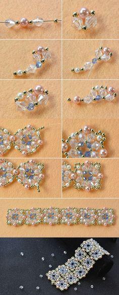 flower beaded bracelet, wanna it Beaded Bracelets Tutorial, Necklace Tutorial, Beaded Bracelet Patterns, Seed Bead Bracelets, Seed Bead Jewelry, Bead Jewellery, Seed Beads, Gold Bracelets, Jewlery