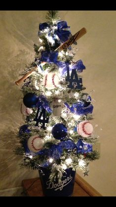 LA Dodgers themed tree for Foothills Festival of Trees silent auction Small Christmas Trees, Christmas Tree With Gifts, Christmas Tree Themes, Blue Christmas, Xmas Tree, Christmas Tree Decorations, Christmas Tree Ornaments, Christmas Holidays, Silent Auction Baskets