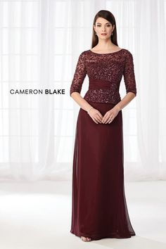 Cameron Blake Chiffon mock two-piece A-line dress with hand-beaded three-quarter sleeves, bateau neck beaded illusion over a sweetheart bodice with ruche Cameron Blake, Womens Dress Suits, Ladies Dresses, Mothers Dresses, Long Evening Gowns, Perfect Prom Dress, Prom Dresses Online, Groom Dress, Two Piece Dress