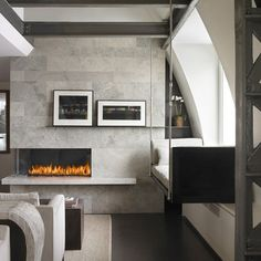 Contemporary Home asymmetrical fireplace Design Ideas, Pictures, Remodel and Decor