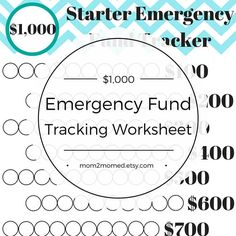 Starter Emergency Fund Tracker Baby Step One Debt Freedom