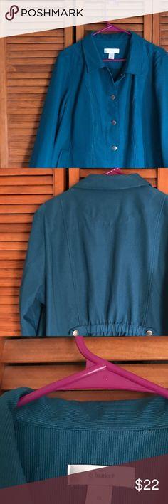 Women's light Corduroy Button Jacket Women's lightweight Corduroy button jacket excellent condition.  Teal color Christopher & Banks Jackets & Coats Blazers