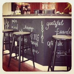Chalkboard wall...right at her eye level... Unexpected place.