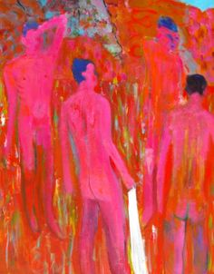 pinkicity: Figures in Landscape 91 x 71 cm acrylic on canvas Rainer Fetting, Queer Art, Top Les, Male Figure, Bedroom Art, Figure Painting, Red And Pink, Surrealism, Landscape