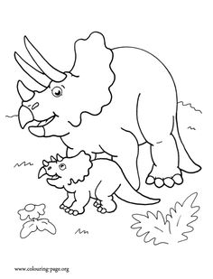 Here Is A Triceratops Dinosaur Mother And Her Cute Baby Enjoy This Awesome Dinosaurs Coloring Page For Kids