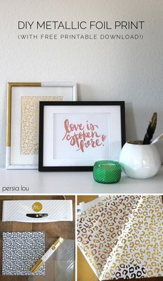"Make your own gold and metallic foil prints with the Heidi Swapp Minc. Plus free ""Love is Spoken Here"" printable #HSMinc"