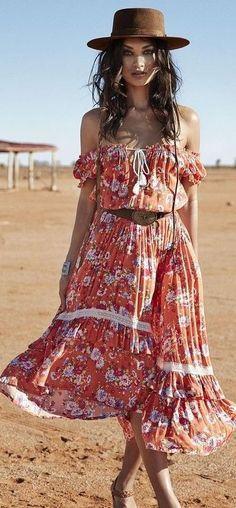 #spellandthegypsycollective #boho #outfits |  Boho Off Shoulder Dress