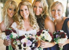 Tuscan Villa-inspired, Rustic-Luxe, Vineyard Wedding - Bridesmaids,  Bouquets,  Jessica Shawn - Michelle Warren Photography