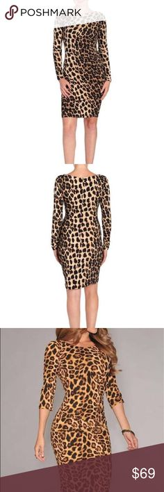 Carmen Marc Valvo Leopard Print Dress Carmen Marc Valvo Leopard/Cheetah Print Sheath Dress, Gathered on one side for a perfect and flattering fit, NWT🤗💕 Carmen Marc Valvo Dresses Long Sleeve
